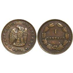 Potosi, Bolivia, copper 1 centavo, 1878.