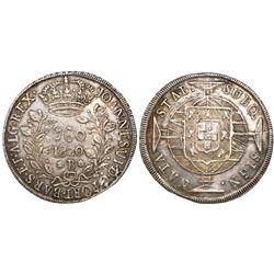 "Brazil (Bahia mint), 960 reis, Joao VI, 1820-B, ""BARS"" variety, struck over a Lima, Peru, bust 8 rea"