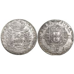 Brazil (Bahia mint), 960 reis, Joao VI, 1821-B, struck over a Lima, Peru, bust 8 reales, Ferdinand V