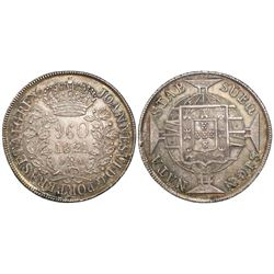 Brazil (Rio mint), 960 reis, Joao VI, 1821-R, struck over a Spanish colonial bust 8 reales.