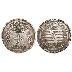 "Brazil (Bahia mint), 600 reis (""J"" series), Jose I, 1758-B."