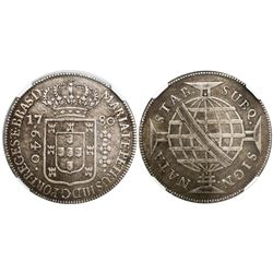 Brazil (struck in Lisbon), 640 reis, Maria I and Pedro III, 1780, flat-arch crown, encapsulated NGC