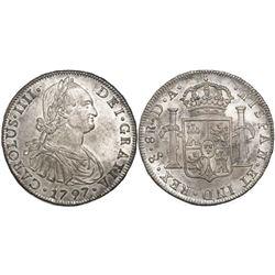Santiago, Chile, bust 8 reales, Charles IV, 1797DA.
