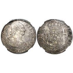 Santiago, Chile, bust 4 reales, Charles IV, 1807FJ, encapsulated NGC AU 55.