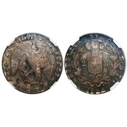 Santiago, Chile, 2 reales, 1844IJ, encapsulated NGC MS 63, finest known in NGC census.