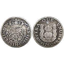 Bogota, Colombia, pillar 1 real, Charles III, 1760JV, very rare.