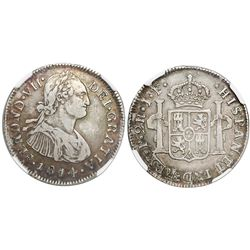 Popayan, Colombia, bust 2 reales, Ferdinand VII, 1814/3JF, rare, encapsulated NGC VF 25, finest and