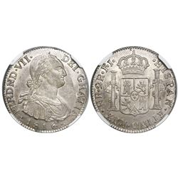 Bogota, Colombia, bust 2 reales, Ferdinand VII (bust of Charles IV), 1816FJ/JJ (scarce over-assayer)