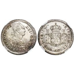Popayan, Colombia, bust 1 real, Ferdinand VII, (bust of Charles IV), 1810JF, encapsulated NGC XF 45,