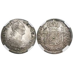 Bogota, Colombia, bust 1 real, Ferdinand VII (bust of Charles IV), 1812JF, encapsulated NGC VF 30, f
