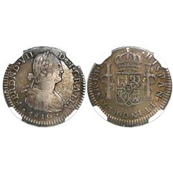 Bogota, Colombia, bust 1 real, Ferdinand VII (bust of Charles IV), 1816FJ, encapsulated NGC VF 30.