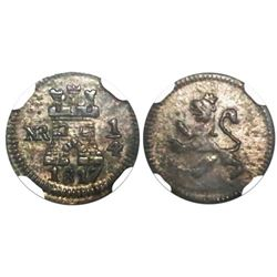 Bogota, Colombia, 1/4 real, 1817, encapsulated NGC AU 55, finest and only specimen in NGC census.