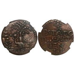 Cartagena, Colombia, copper 1/2 real, 1812, encapsulated NGC AU 55 BN.