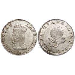 "Bogota, Colombia, 2 reales, 1819JF, ""Libertad Americana"" type, encapsulated PCGS AU55, rare grade."