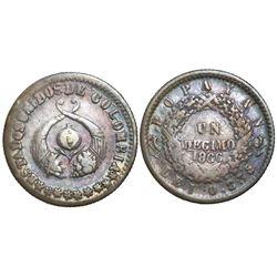 Popayan, Colombia, 1 decimo, 1866, fineness 0.835/900.