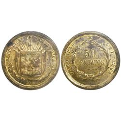 Costa Rica, brass pattern 50 centavos, 18xx (1873), very rare, encapsulated NGC MS 60.