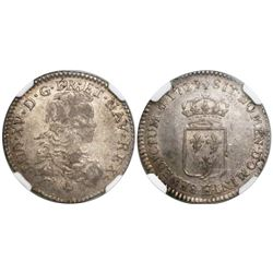 France (Tours mint), 1/6 ecu, Louis XV, 1721-E, struck over a 1720 1/6 ecu of Navarre, encapsulated