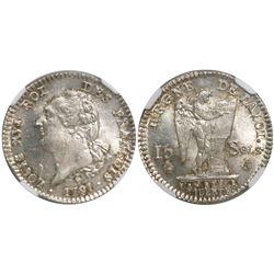 France (Paris mint), 15 sols, Louis XVI, 1791-A, encapsulated NGC MS 64.