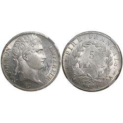 France (Paris mint), 5 francs, Napoleon I, 1811-A, encapsulated NGC MS 61.