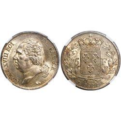 France (Paris mint), 5 francs, Louis XVIII, 1822-A, encapsulated NGC MS 62.