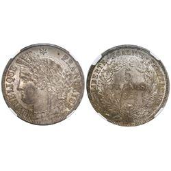 France (Paris mint), 5 francs, 1851-A, encapsulated NGC MS 62.