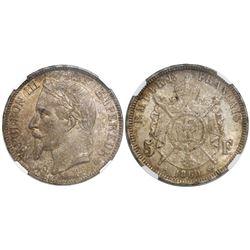 France (Strasbourg mint), 5 francs, Napoleon III, 1869-BB, encapsulated NGC MS 62.