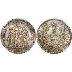 France (Paris mint), 5 francs, 1873-A, encapsulated NGC MS 66.