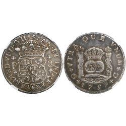 Guatemala, pillar 8 reales, Ferdinand VI, 1759P, encapsulated NGC VF 25.
