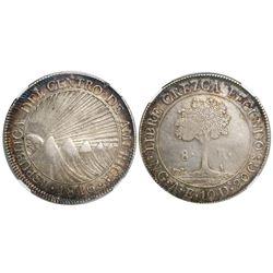 Guatemala (Central American Republic), 8 reales, 1846/2AE/MA, CREZCA/CRESCA, encapsulated NGC AU 50.