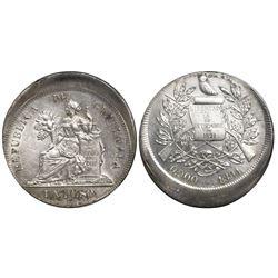 Guatemala, 1 peso, 1894, struck 15% off-center on both sides (rare error).