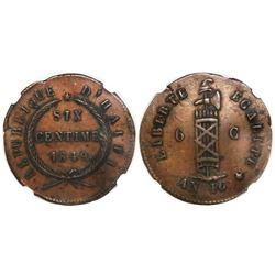 Haiti, copper 6 centimes, AN 46 / 1849, encapsulated NGC AU 55 BN, ex-Byrne.