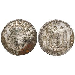 Mexico City, Mexico, pillar 8 reales, Philip V, 1733/2F, mintmark M.X, extremely rare, with chopmark