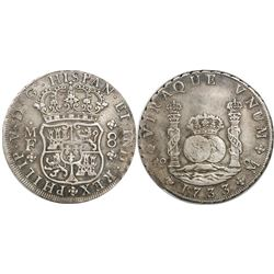 Mexico City, Mexico, pillar 8 reales, Philip V, 1733MF, small crown, three mouldings atop pillars, r