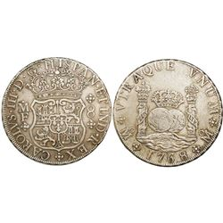 Mexico City, Mexico, pillar 8 reales, Charles III, 1768MF.