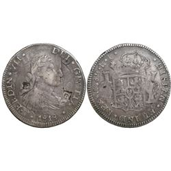 Chihuahua, Mexico, bust 8 reales, Ferdinand VII, 1818RP, struck over a Chihuahua cast bust 8 reales