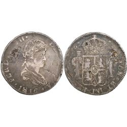 Durango, Mexico, bust 8 reales, Ferdinand VII, 1816MZ, ex-Calbeto.