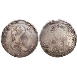 "Durango, Mexico, bust 8 reales, Ferdinand VII, 1819CG, ""IIISPAN"" error, ex-Calbeto."