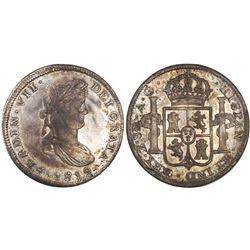 "Zacatecas, Mexico, bust 8 reales, Ferdinand VII, 1819AG, ""GRATA"" error."