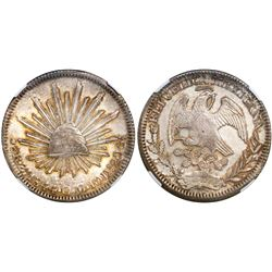Zacatecas, Mexico, cap-and-rays 8 reales, 1844OM, encapsulated NGC MS 61.