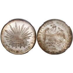 Zacatecas, Mexico, cap-and-rays 8 reales, 1895FZ, encapsulated NGC MS 64.