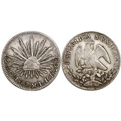 Real de Catorce, Mexico, cap-and-rays 2 reales, 1863ML, rare.
