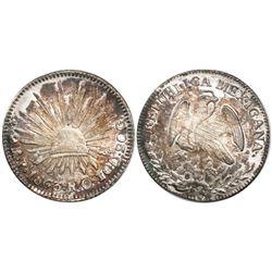 San Luis Potosi, Mexico, cap-and-rays 2 reales, 1863RO.