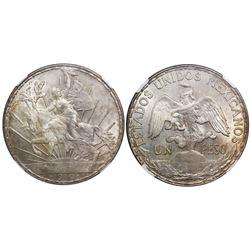 """Mexico City, Mexico, 1 peso, """"Caballito,"""" 1910, encapsulated NGC MS 64."""