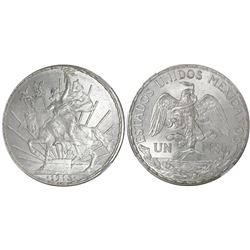 """Mexico City, Mexico, 1 peso, """"Caballito,"""" 1913, even-spaced date variety, encapsulated NGC MS 64."""