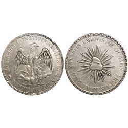"""Durango (Cuencame), Mexico, 1 peso, """"Muera Huerta,"""" 1914, dot-dash border."""