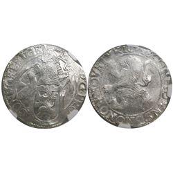 """Gelderland, United Netherlands, """"lion"""" daalder, 1648, encapsulated NGC MS 62."""