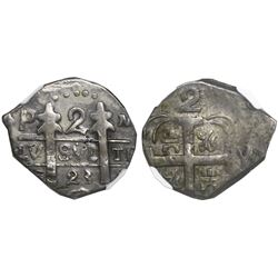 "Nicaragua (Leon), provisional ""imitation cob"" 2 reales, 1823 P.M.P.Y., very rare, encapsulated NGC A"