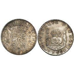 Lima, Peru, pillar 8 reales, Ferdinand VI, 1759JM, dot above one mintmark.