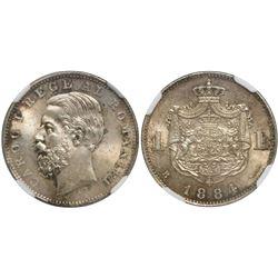Romania (Bucharest mint), 1 leu, Carol I, 1884-B, encapsulated MS 63.