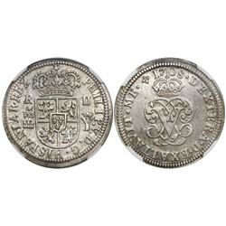 "Segovia, Spain, milled 2 reales ""pistareen,"" Philip V, 1708Y, encapsulated NGC MS 63, finest known i"